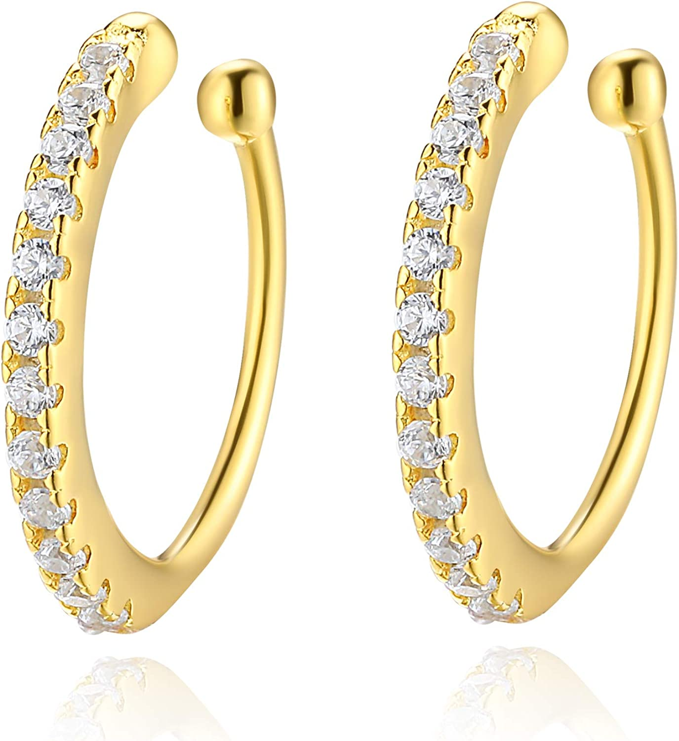 925 Sterling Silver CZ Cuff Cheap mail order shopping Earrings Piercing Max 61% OFF Women No Small for