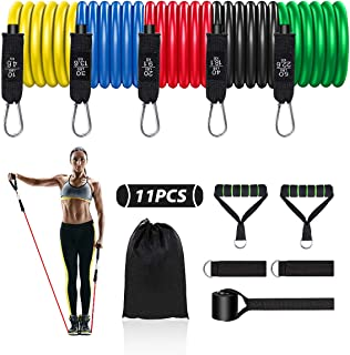 RJSY Resistance Bands Set 11PCS Exercise Bands Training Tube for Men Women Exercise Bands with Handles Ankle Straps for Wo...