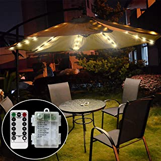 Chasgo 104 LEDs Battey Powered Patio Umbrella Lights Waterproof Outdoor Lighting, Warm White 8 Lighting Modes LED String Lights with Remote for Patio Umbrella Decor