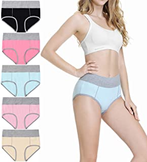 TUUHAW Unterhosen Damen Unterwäsche Baumwolle 5er Pack Hohe Taille Miederhose Atmungsaktive
