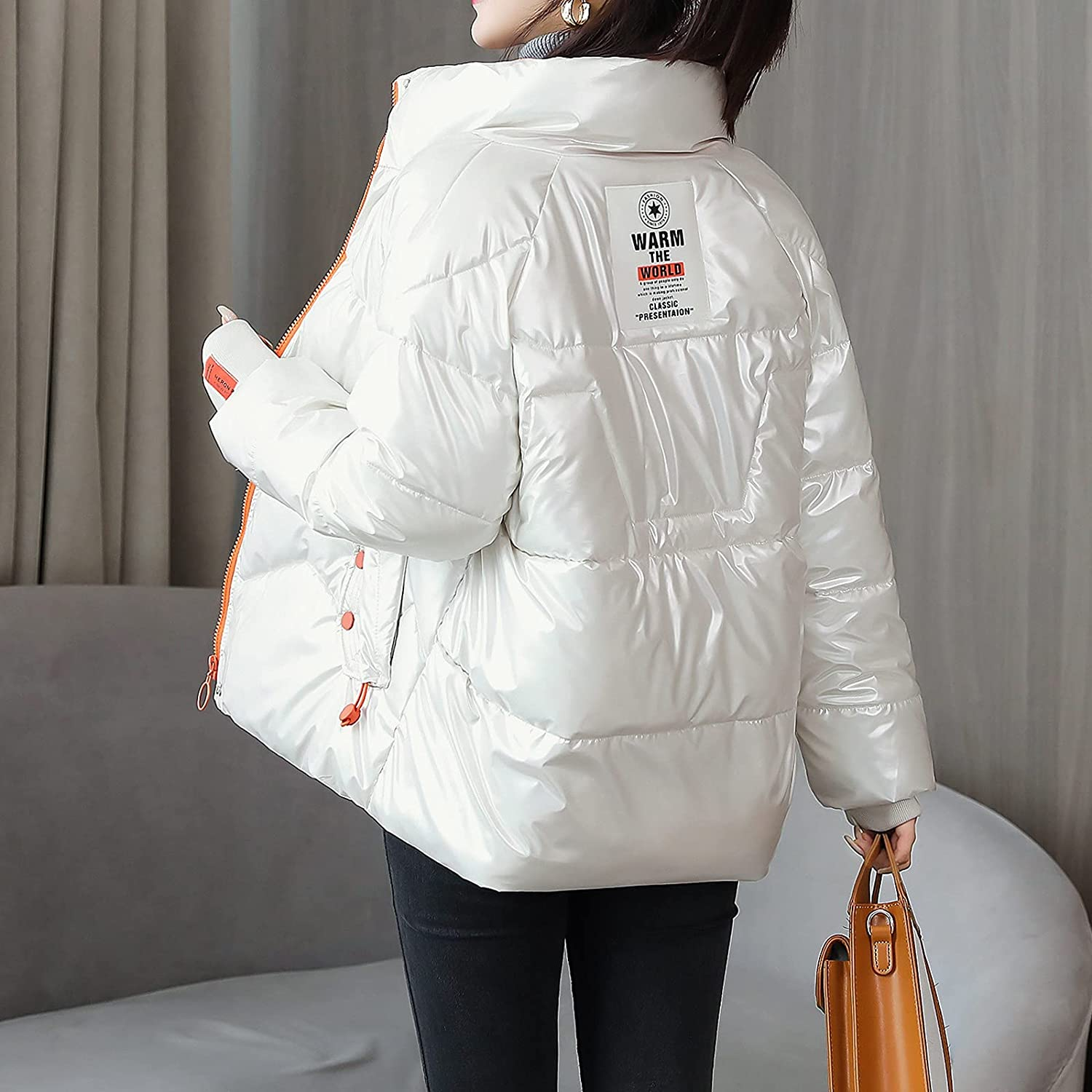 Rovga Womens Down Jacket Winter Fashion Outerwear Long Cotton-Padded Jackets Suede Hooded Coats with Pockets