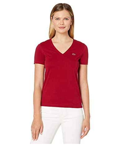 Lacoste Short Sleeve Solid V-Neck Jersey Tee (Bordeaux) Women