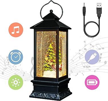 "Eldnacele 12"" Musical Snow Globe Lantern Christmas USB Lined Batteries Operated Water Glittering Lighted Lantern Santa Claus with 6H Timer Centerpiece (Santa Sleigh)"