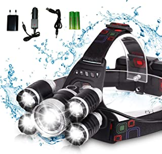 DELEE Waterproof 12000 Lumen 5 Led Headlamp XML T6+4Q5 Head Lamp Powerful Led Headlight, Rechargeable Flashlight Head Ligh...