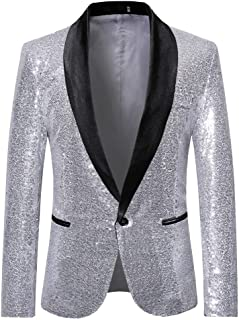 Herren Anzug 1 Teiliger Set Slim Fit Muster Mantel, Männer Blazer für Hochzeit und Party Business Casual Schlanker Einzelne-Knopf-Hochzeitsfest-Kleid Jacke Suit Regular Fit Mens Top