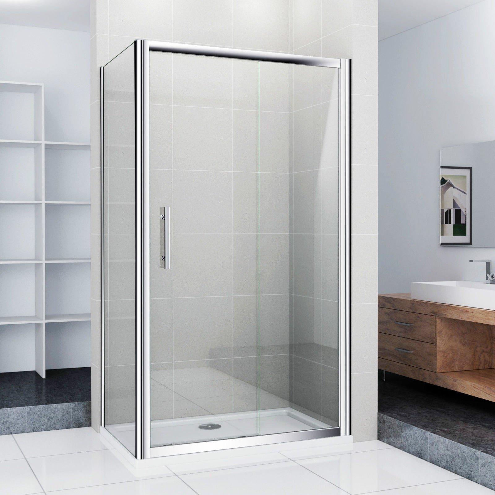 Mampara de ducha puerta corredera ducha pared puerta de ducha 110 x 90 x 185 cm (ns4 – 11 + NS3 – 90): Amazon.es: Hogar