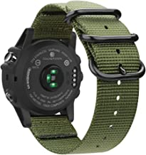 Fintie Band for Garmin Fenix 6X / Fenix 5X Plus/Tactix Charlie Watch, 26mm Premium Woven Nylon Adjustable Replacement Strap for Fenix 6X 5X/5X Plus/3/3 HR/Tactix Charlie Smartwatch - Olive