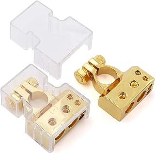 2/4/8/10 Gauge AWG Positive & Negative Battery Terminal Connectors Clamp (Pair)