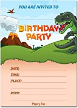 Dinosaur Birthday Invitations with Envelopes (15 Pack) - Kids Birthday Invitations for Boys or Girls - Dinosaur Party Decorations Supplies