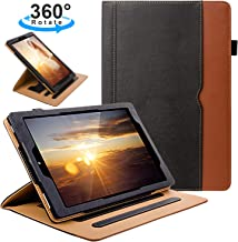 ZTOZ All New Kindle Fire HD 10 Tablet (9th/7th Generation,2019/2017 Released) Cover Case With Card Slots, 360 Degree Rotating Multi-Angle Viewing Stand Auto Sleep/Wake For Fire HD10 - Black/Brown