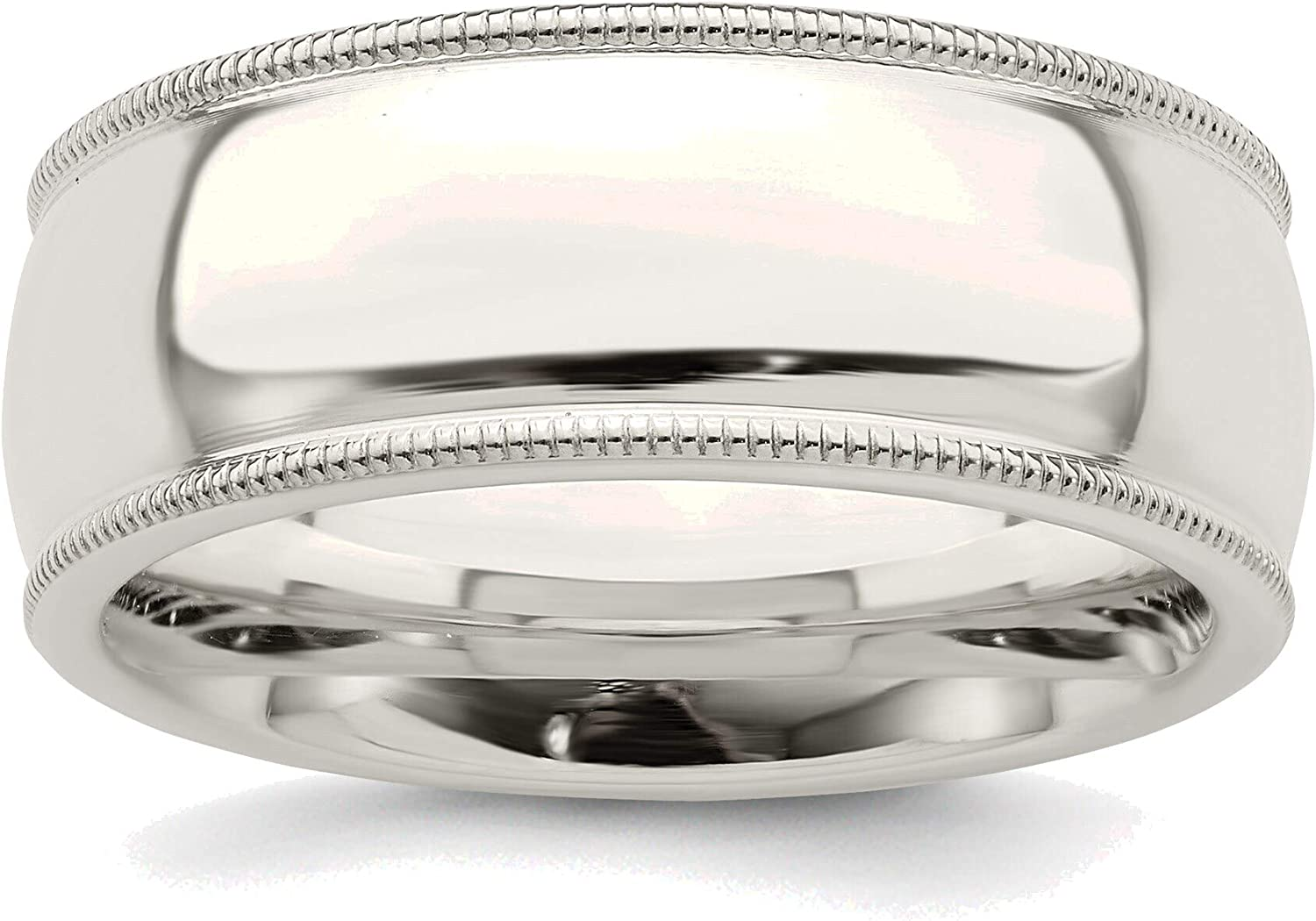 Bonyak Save money Jewelry Solid Sterling Silver We OFFer at cheap prices Milgrain Ba Comfort 8mm Fit