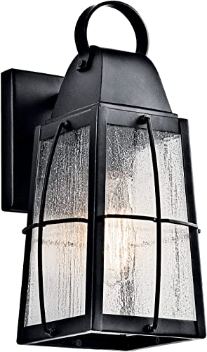 """2021 Tolerand wholesale 12"""" 1 Light Outdoor Wall Light with discount Clear Seeded Glass in Textured Black outlet sale"""