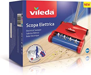 Vileda Quick & Clean - Escoba eléctrica inalámbrica y cepillo eléctrico con articulación flexible y 2 cepillos giratorios patentados, color rojo