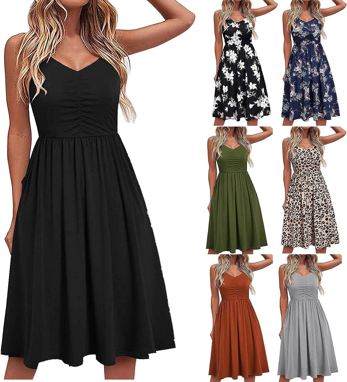 INNOVIERA Boho Dress for Women Summer,Women's Sleeveless Midi Dress Sexy Floral High Waist Flowy Beach Dress with Pocket
