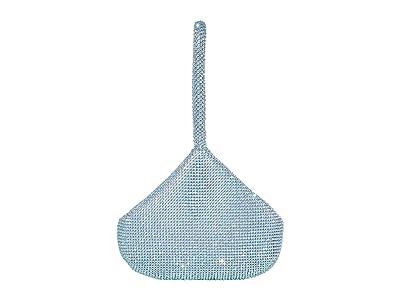 Jessica McClintock Staci Rhinestone Mesh Pouch Wristlet (Iridescent Aqua) Wristlet Handbags