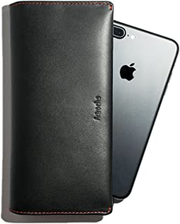 Long Wallet Full Grain Genuine Leather Slim for Cards, Flat Bills, iPhone, Coins for Men Women - AUROCHS SPACE