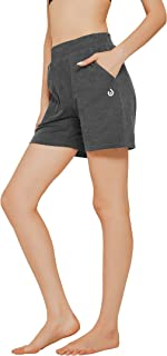 """N-A Women's 5"""" Active Shorts Cotton Sweat Pants Gym Workout Fitness Activewear Lounge Long Shorts with Pockets"""