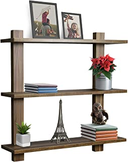 Sorbus Floating Shelf — Asymmetric Square Wall Shelf, Decorative Hanging Display for Trophy, Photo Frames, Collectibles, and Much More, Set of 3 (3-Tier – Walnut)