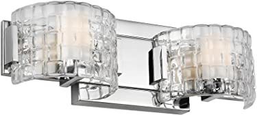 Murray Feiss Lighting VS24342CH-L1 Brinton - 15.63 Inch 10W 2 LED Bath Vanity, Chrome Finish with Undefined Glass