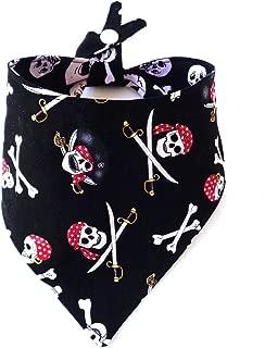 Reversible Pirate Skull CrossBones Dog Bandana Tie On Snap Closure Summer Everyday Petwear Neckwear
