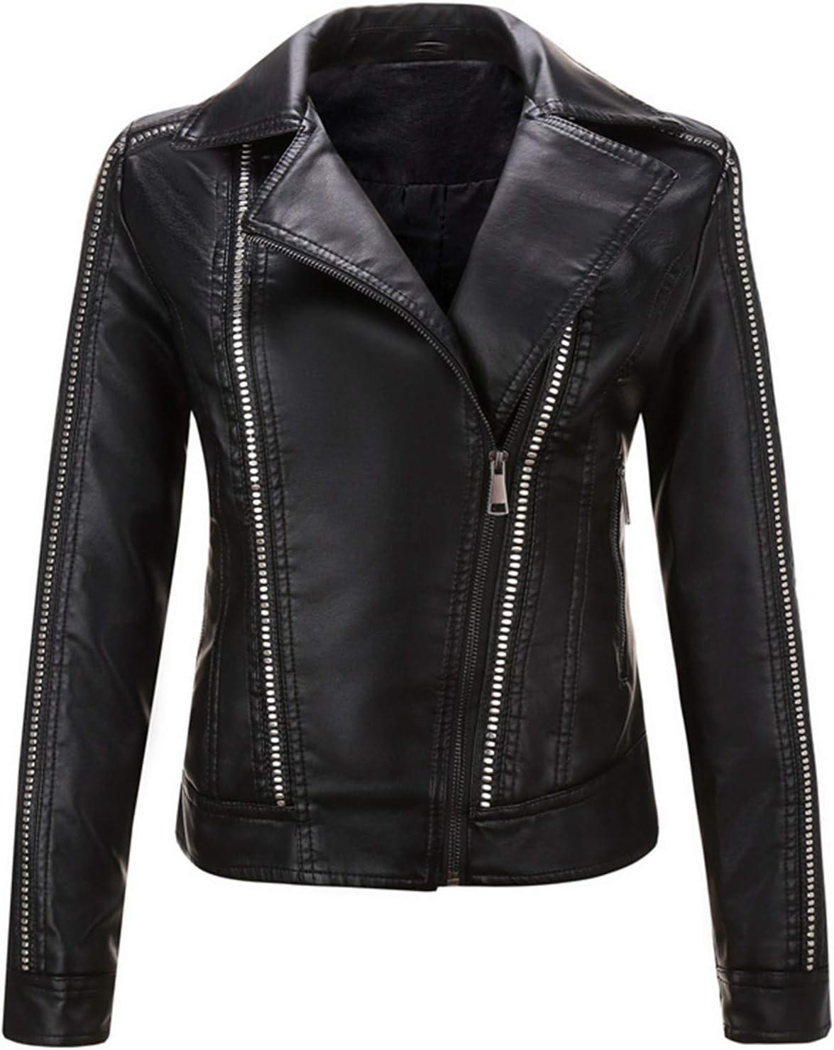 EverNight Women's Biker Jacket,Asymmetric Zip Slim Faux Leather Outwear,Vintage Cropped Moto Jacket,Black,XXL
