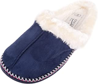 Absolute Footwear Womens Thick Warm Faux Fur Slippers/Mules/Shoes Stitch Details