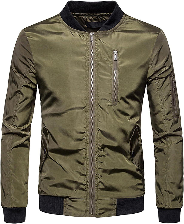 Ribbed Cuff Zipper Jacket Bomber Shell Jacket Coat with Pockets Waterproof Windproof Windbreaker Outerwear
