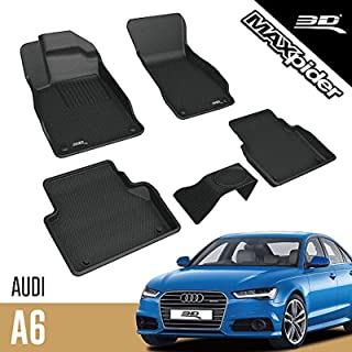 3D MAXpider Audi A6/ A7 2019-2020 Custom Fit All-Weather Car Floor Mats Liners, Kagu Series (1st & 2nd Row, Black)