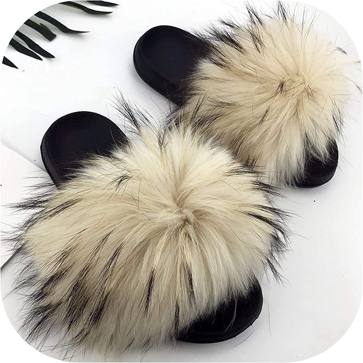 Sexy Stores 2018 New Fur Slides Mix colors Furry Sliders Women Ladies Fur Slippers