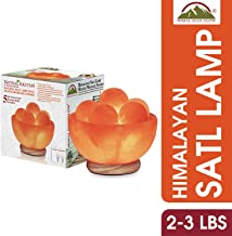 Himalayan Glow Hand Crafted Bowl Salt Lamp with Massage Stones 5 Pieces,Natural Salt Night Light with Neem Wooden Base,Salt Lamp Bulb,(ETL Certified) Dimmer Switch | (2 Extra Bulbs)