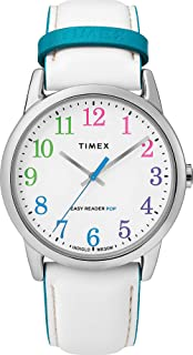 Timex TW2T28400 Weekender Color Pop White Easy Reader Dial White Leather Band 38 mm Watch