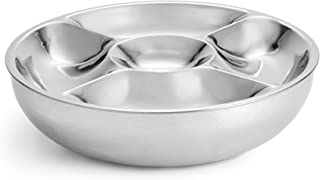 Artisan 2-Piece Stainless Steel Serving Bowl with 5-Section Top Tray and Insulated Lower Bowl