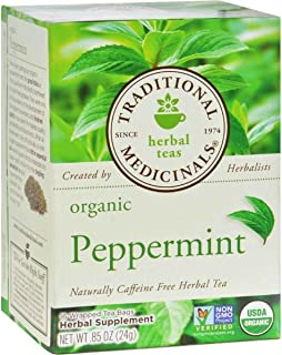 Traditional Medicinals Peppermint, Herbal Tea, Organic, 16 CT (Peppermint, pack - 2)