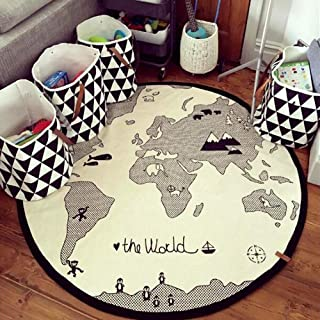 HILTOW World Map Rug Kids Area Rug Play Rug Baby Play Mat Round Area Rug Activity Round Rug Suitable for Autumn and Winter (Thick,Diameter 53 inches)