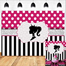 Colorful Polka Dots Backdrop 6.5x6.5ft Polyester Photography Background Black and Fuschia Dots Photo Backdrops Newborn Baby Birthday Party Backdrops Children Photography Backdrop Studio Props