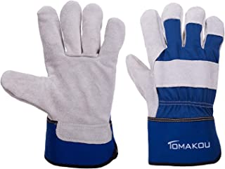 Men's Cow Split Leather Work Gloves for Construction/Industry/Heavy-Duty with Safety Cuff All Seasons. (Medium, 3 Pairs Pack)