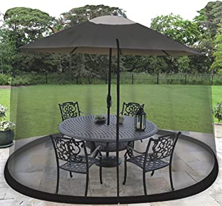 OceanTailer 9' Patio Umbrella Outdoor Table Bug Screen Mesh Black Mosquito Net Canopy Curtains Adjustable Enclosure Large Umbrella Hanging Tent 100% Polyester Light Weight Mosquito Netting
