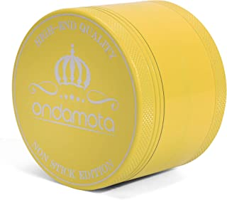 Non Stick Ceramic Herb Grinder - Sharper, Easier Movement, Extra Tough Sealed Aluminum, Food Safe, Easy to Clean, No Bad Odors or Taste. 2.5 Inch Diameter, 1.85 Inches Tall Color Lemon Yellow