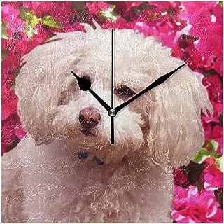 Mikaかわいらしいプードル 掛け時計 四角 壁掛け 掛時計 壁掛け時計 時計 wall clock リビング インテリア スクエア 正方形 ファミリア