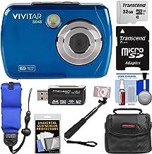 $62 Get Vivitar ViviCam S048 Waterproof Digital Camera (Blue) with 32GB Card + Case + Float Strap + Selfie Stick + Kit