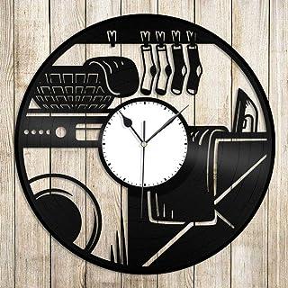 ZZLLL Buanderie Vinyle Horloge Murale 12 Pouces Cadeau Unique pour Les Amis Maison Chambre Bureau décoration rétro Design ...