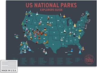 """USA National Park Scratch Off Map (24"""" x 17"""") - Interactive Travel Scratch-Off Poster Reveals Images of All 61 US National Parks - Great National Park Poster for Travelers - Great Gift for Men"""
