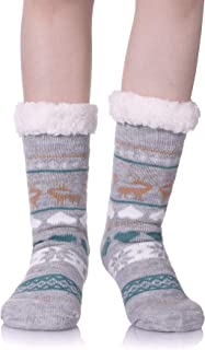 Women's Super Soft Warm Cozy Fuzzy Fleece-lined Non-skid Knee Highs Christmas Winter Slipper socks