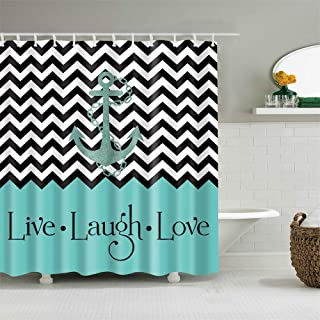 Shower Curtain Set with Hooks Nautical Anchor Chevron Zigzag Live Laugh Love Bathroom Decor Waterproof Polyester Fabric Bathroom Accessories Bath Curtain 72 x 72 inches