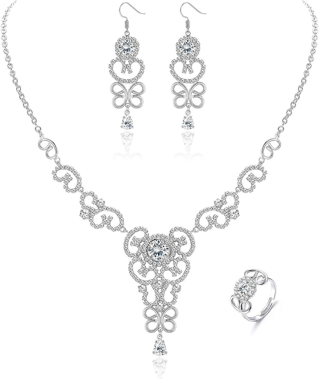 FIASASO Crystal Bridal Jewelry Set for Women Flower Wave CZ Teardrop Rhinestone Necklace Earrings Rings for Wedding Bridesmaid