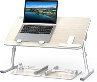 Laptop Bed Tray Table, SAIJI Adjustable Laptop Bed Stand, Foldable Portable Standing Table with Foldable Legs, Lap Tablet ...