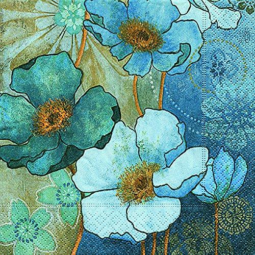 20 Servietten Harmony in Blue – Blaue Harmonie/Blumen 33x33cm
