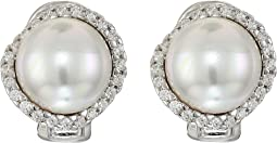 Rosa 10mm White Flat Pearl w/ CZ On Sterling Silver Post Clip Earrings