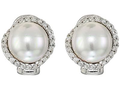Majorica Rosa 10mm White Flat Pearl w/ CZ On Sterling Silver Post Clip Earrings (White) Earring