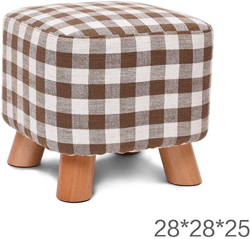 Carl Artbay Wooden Footstool Solid Wood Shoes Bench Fashion Shoes Creative Square Fabric Sofa Bench Washing And Wash Design Cotton And Linen Material Home Color B